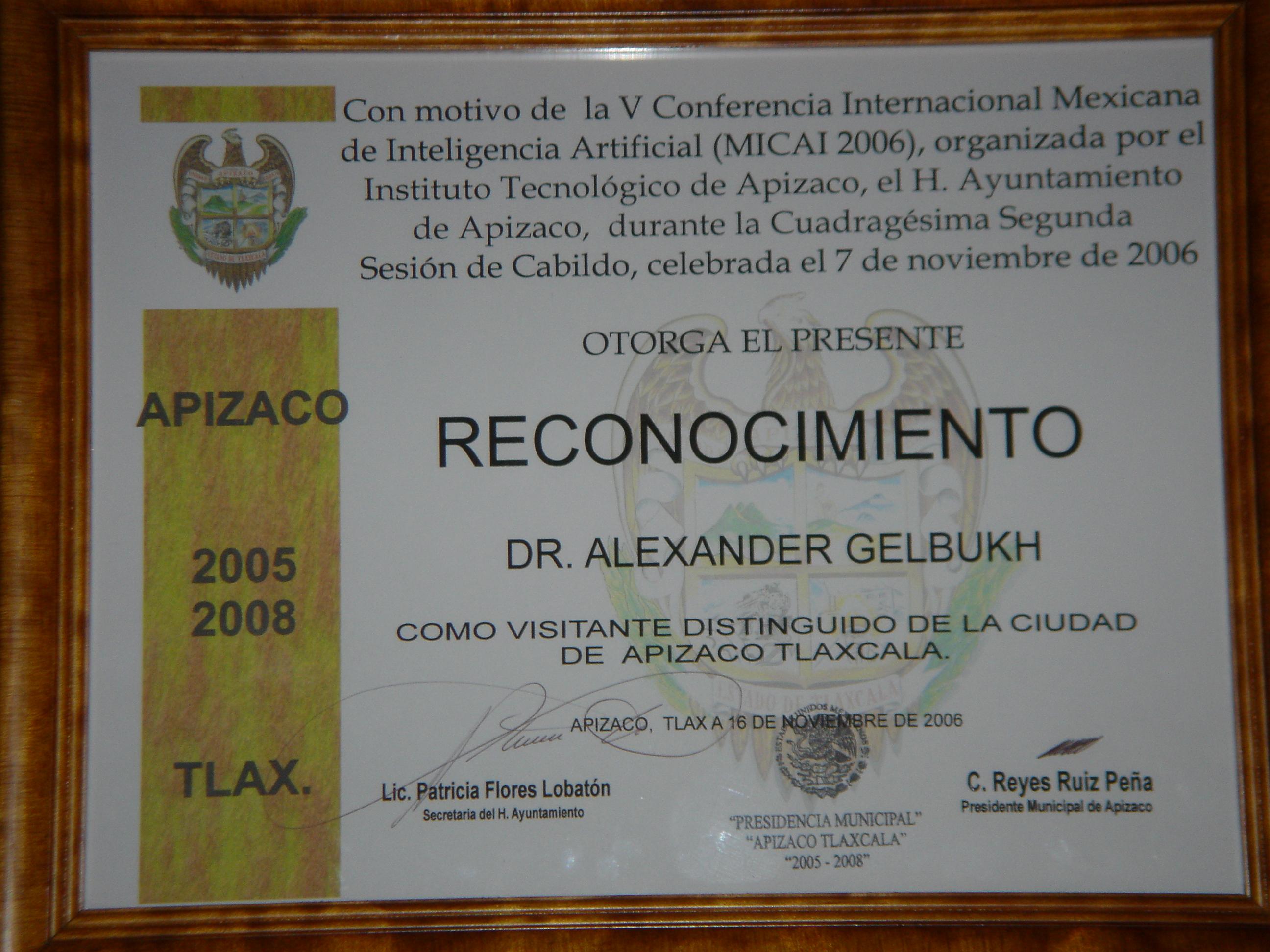 Alexander Gelbukh -- Curriculum Vitae